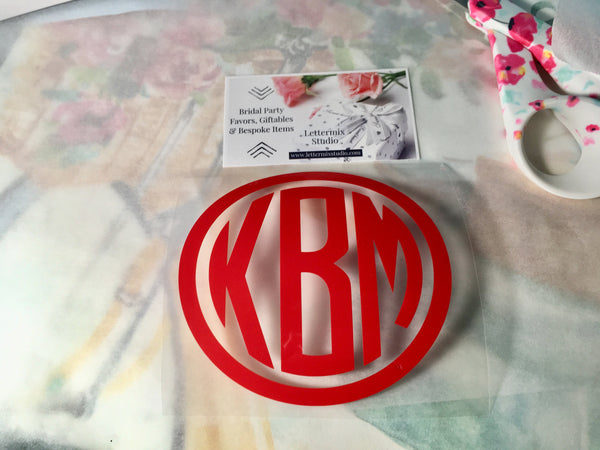 Red Monogram Iron On, DIY shirts-Lettermix Studio
