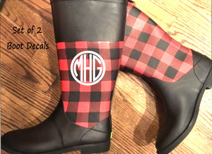 Monogram Decal set for Rainboots, DECALS only