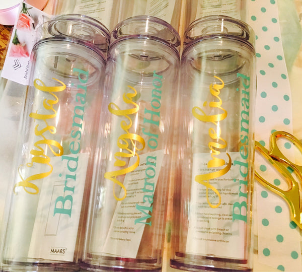 Set of 9 Bridesmaid Tumblers, Skinny Cups with names-Lettermix Studio