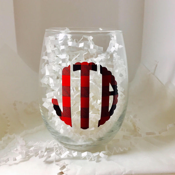 Personalized wine glass, Buffalo plaid-Lettermix Studio