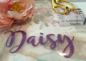 Glitter name iron on Lettering, name Applique-Lettermix Studio