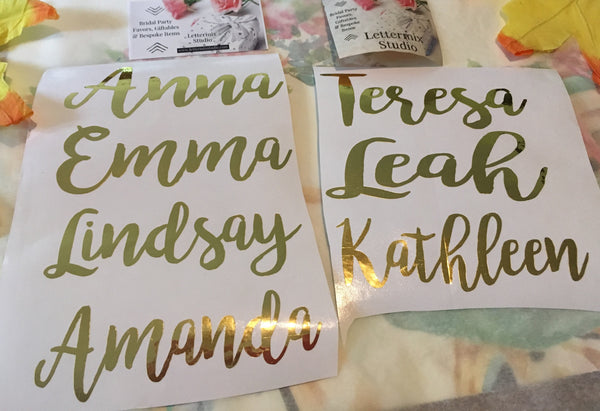 Gold Foil Custom Name Decal, Personalized vinyl decals-Lettermix Studio