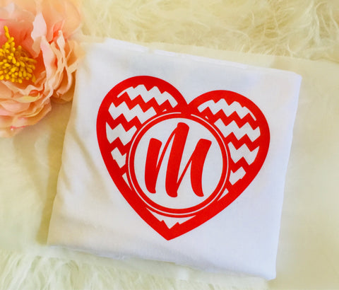 Valentine Shirt Iron on, Heart monogram-Lettermix Studio
