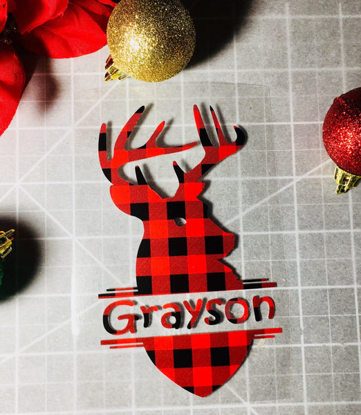 Deer Iron on, Buffalo plaid heat transfer iron on-Lettermix Studio