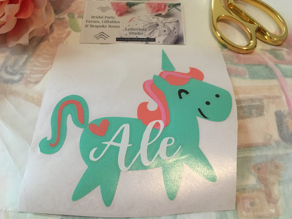 Unicorn Decal with Name for kids cup