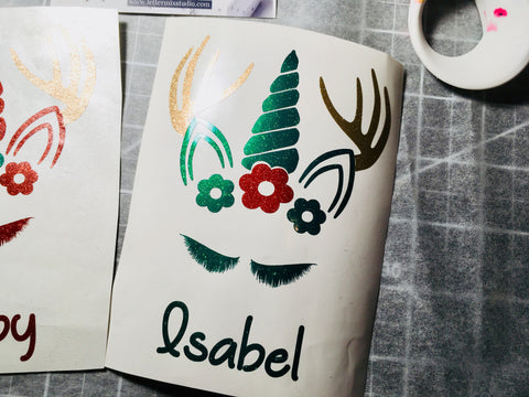 Vinyl decal, Reindeer Unicorn crown vinyl decal-Lettermix Studio