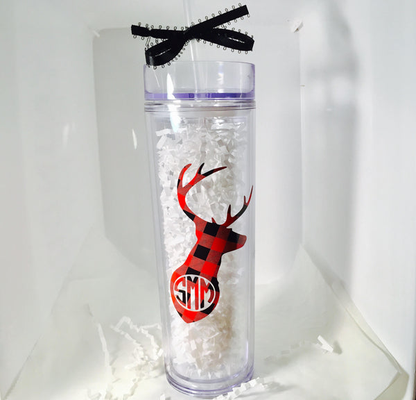 Skinny cup with Deer monogram, Personalized monogram cup-Lettermix Studio