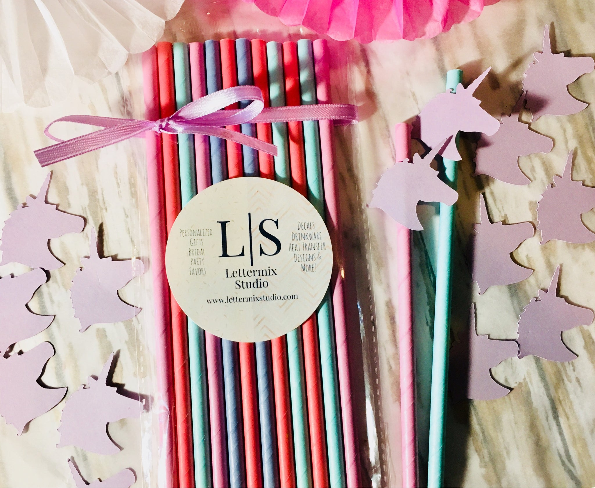 Unicorn party Paper Straws, Rainbow Unicorn-Lettermix Studio