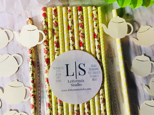 Yellow Paper Straws, Yellow and red floral paper straws-Lettermix Studio