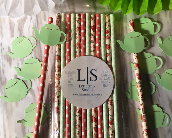 Mint and Coral Paper Straws, Floral paper straws-Lettermix Studio