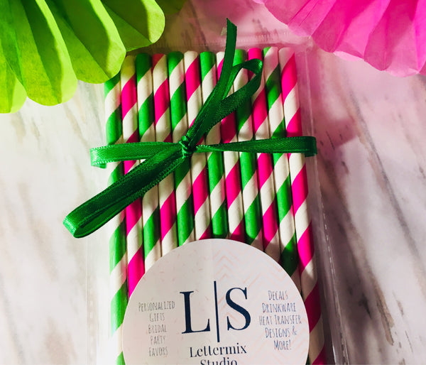Green and Hot Pink Paper Straws, Bachelorette party straws-Lettermix Studio