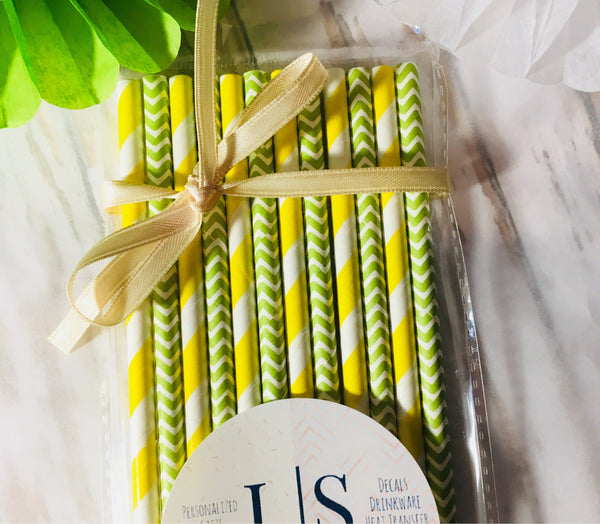 Yellow and Lime Paper Straws, Bachelorette party straws-Lettermix Studio