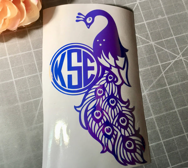 Peacock feathers vinyl decal or Iron on Peacock decal