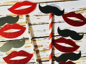 Red & Gold Paper Straws, Lips and Mustache photo props-Lettermix Studio