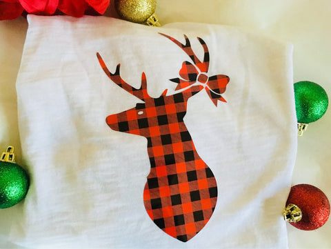Buffalo Plaid Deer Iron on, iron on decal-Lettermix Studio