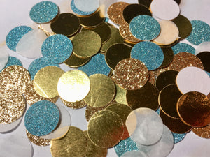 Aqua and Gold Confetti, Prom decor-Lettermix Studio