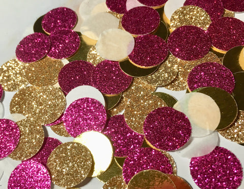 Hot pink and Gold Confetti, graduation party confetti-Lettermix Studio