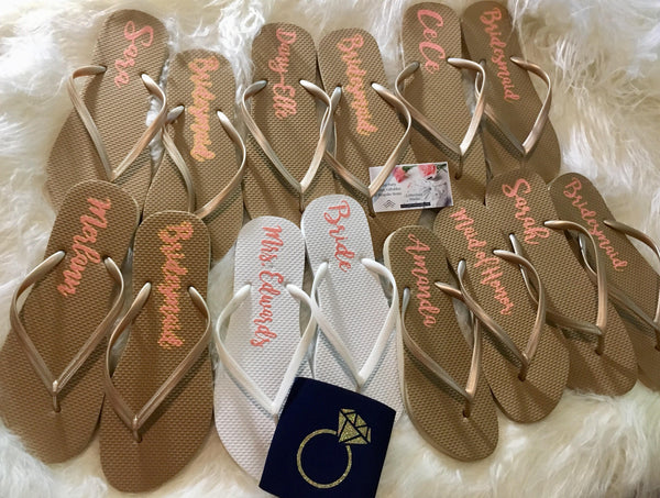 Bridal party Flip Flops, Gold Bridal party Flip flops