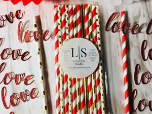 Red & Gold Paper Straws, Love confetti-Lettermix Studio