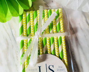 Green and Yellow Paper Straws, Bachelorette party straws-Lettermix Studio