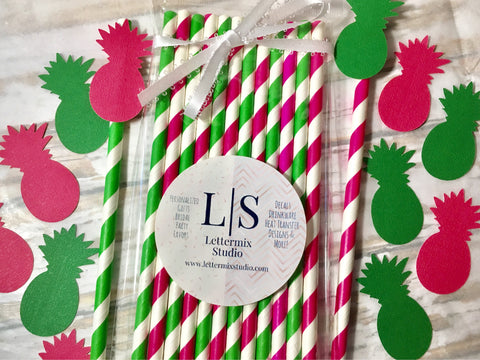 Pink and Green Paper Straws, Pineapple flags-Lettermix Studio