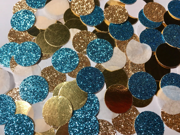 Teal and Gold Confetti, Prom decor-Lettermix Studio
