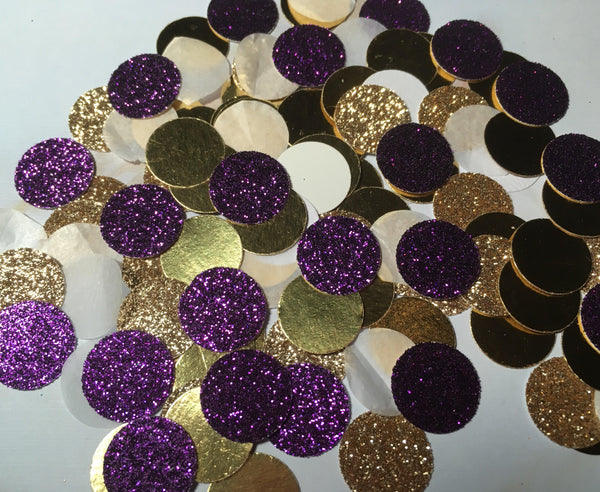Purple and Gold Confetti, Mardi gras party confetti-Lettermix Studio