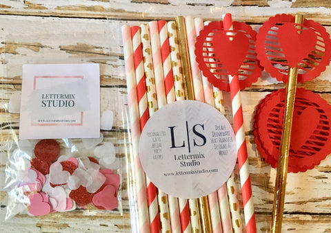 Valentine party pack, Paper Straws and Confetti-Lettermix Studio