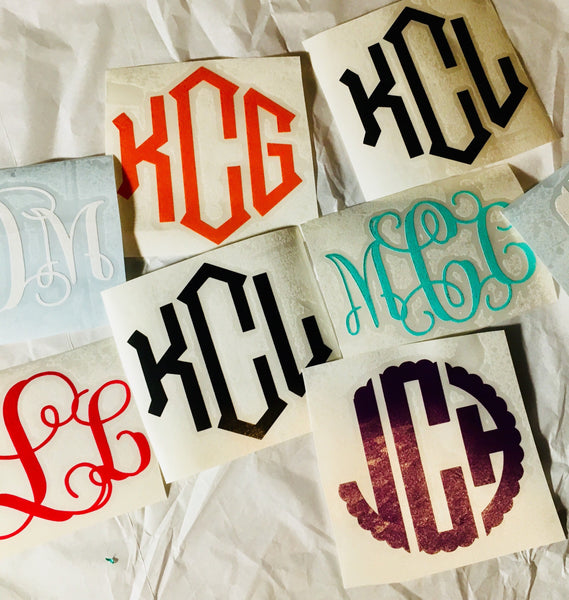 Scrip font Monogram Decal