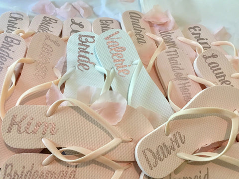 Bridesmaid Flip Flops, Blush Pink Bridal party flip flops