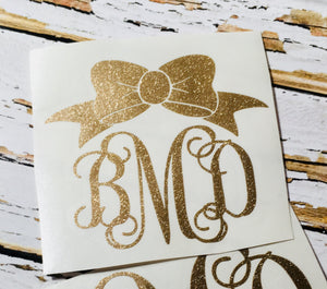 Glitter Monogram with Bow-Glitter Vinyl Decal-Gift for teen girl