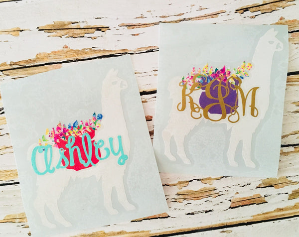 Llama Decal personalized gift for her