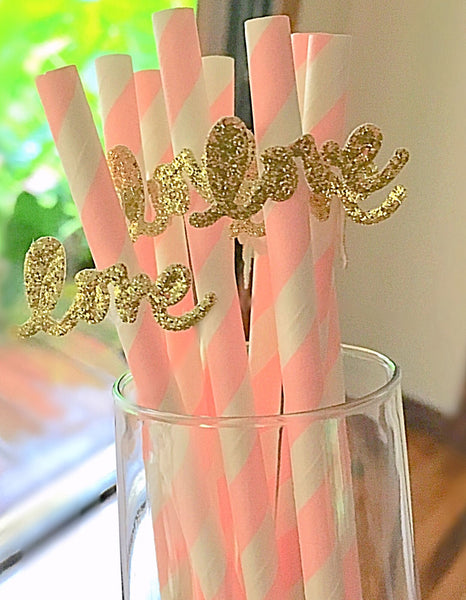 Blush Pink and Gold Biodegradable Paper Straws