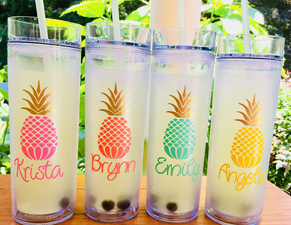 Bridesmaid Gift idea, Pineapple themed Bridesmaid tumblers