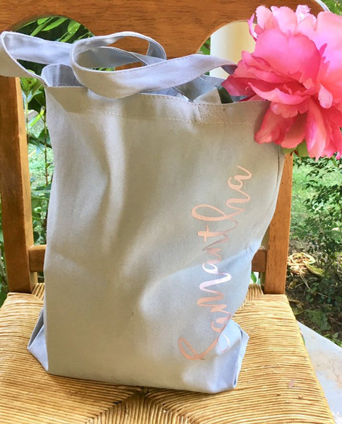 Bridesmaid tote bags personalized vertical name