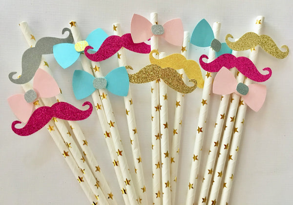 Gender reveal decorations, Paper straws