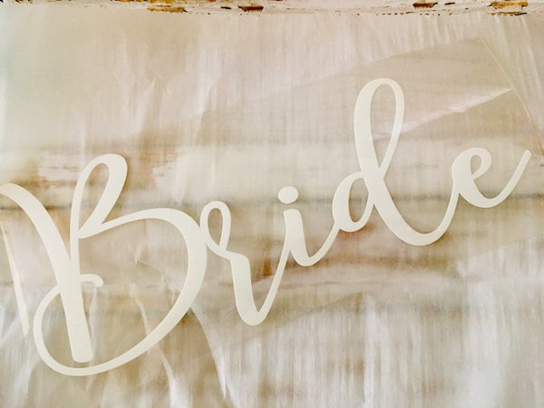 Bride Sash Iron on Decal Calligraphy font