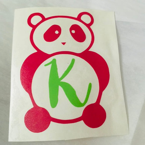 Panda Bear monogram decal, Dorm room decor