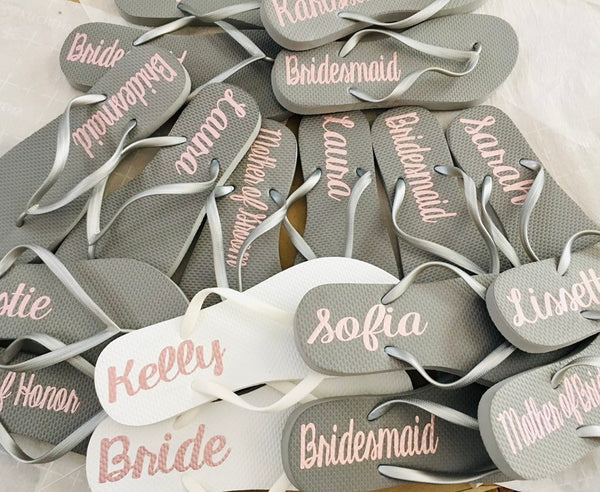 Bridesmaid Flip Flops, Personalized Silver Wedding Flip Flops