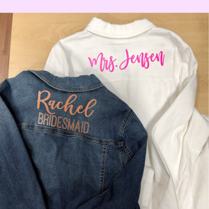 Bride Denim Jacket Iron on Lettering, Bridesmaid Jacket iron ons