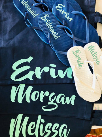 Bridesmaid Flip Flops, Navy Blue Wedding party flip flops