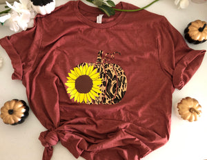 Leopard Sunflower Pumpkin Fall tee Shirt