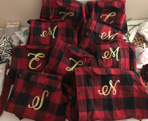 12 Flannel Wedding party shirts-Lettermix Studio