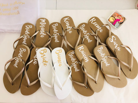 Gold Bridal party Flip flops