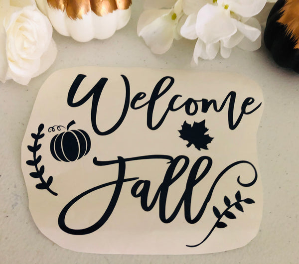 Welcome Fall or Wreath Decal, Pumpkin Decal
