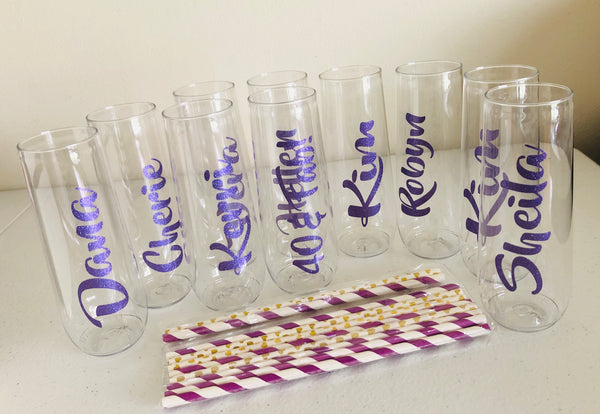 Plastic Champagne Flutes, Personalized Wine Flutes