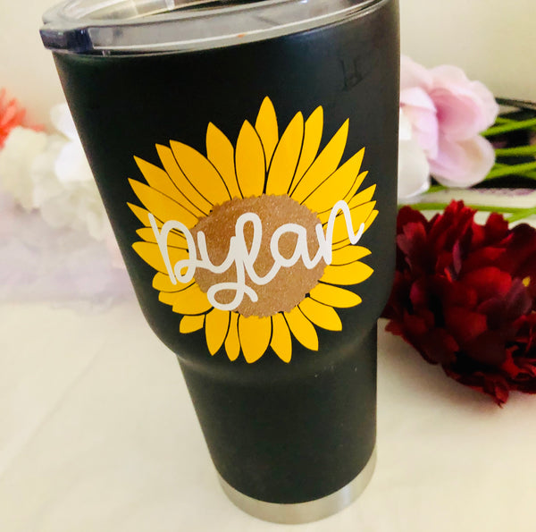 Yellow Sunflower monogram cup decal, Boho Flower Sticker