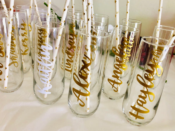 Stemless Bridal party Flutes