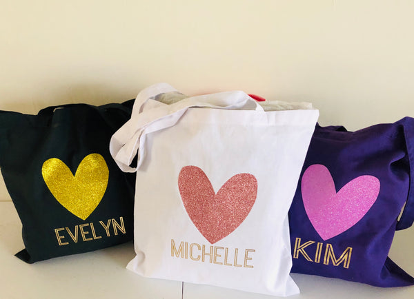 Bridesmaid Tote Bags, Glitter Heart Tote Bags
