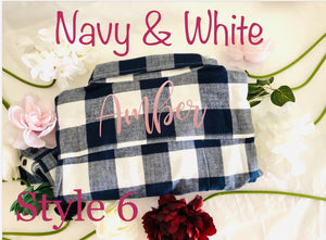 Navy and White Bridesmaid Flannel Shirts